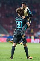 Chelsea's David Luiz and Pedro Rodriguez celebrating the victory during UEFA Champions League match between Atletico de Madrid and Chelsea at Wanda Metropolitano in Madrid, Spain September 27, 2017. (ALTERPHOTOS/Borja B.Hojas)