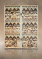 Medieval Gothic ivory diptych with scenes from the Passion made in Paris in the second quarter of the 14th century.  inv 10006, The Louvre Museum, Paris.  .<br /> <br /> If you prefer you can also buy from our ALAMY PHOTO LIBRARY  Collection visit : https://www.alamy.com/portfolio/paul-williams-funkystock/gothic-art-antiquities.html  Type -   louvre     - into the LOWER SEARCH WITHIN GALLERY box. Refine search by adding background colour, place, museum etc<br /> <br /> Visit our MEDIEVAL ART PHOTO COLLECTIONS for more   photos  to download or buy as prints https://funkystock.photoshelter.com/gallery-collection/Medieval-Gothic-Art-Antiquities-Historic-Sites-Pictures-Images-of/C0000gZ8POl_DCqE