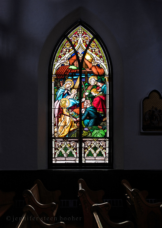 Window 5 on plan. Also known as the 'Adoration of the Shepherds.'<br /> <br /> Holy Redeemer Catholic Church, Bar Harbor, Maine.