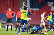 Wycombe Wanderers players overcome with emotion at full time during the EFL Sky Bet League 1 Play Off Final match between Oxford United and Wycombe Wanderers at Wembley Stadium, London, England on 13 July 2020.