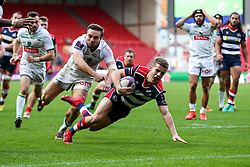 Billy Searle of Bristol Rugby scores a try - Rogan Thomson/JMP - 11/12/2016 - RUGBY UNION - Ashton Gate Stadium - Bristol, England - Bristol Rugby v Pau - European Rugby Challenge Cup.