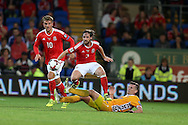 Joe Allen of Wales (c) in action. Wales v Moldova , FIFA World Cup qualifier at the Cardiff city Stadium in Cardiff on Monday 5th Sept 2016. pic by Andrew Orchard,