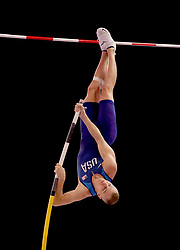 USA's Sam Kendricks during the Mens Pole Vault final during day four of the 2018 IAAF Indoor World Championships at The Arena Birmingham.