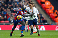 Mamadou Sakho of Crystal Palace (L) holds off Fernando Llorente of Tottenham Hotspur (R). Premier league match, Tottenham Hotspur v Crystal Palace at Wembley Stadium in London on Sunday 5th November 2017.<br /> pic by Steffan Bowen, Andrew Orchard sports photography.