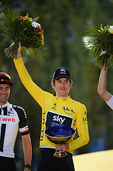 Tour de France 2018 winner Great Britain's Geraint Thomas celebrates his overall leader yellow jersey on the podium after the 21st and last stage of the 105th edition of the Tour de France cycling race between Houilles and Paris Champs-Elysees, in Paris, France, on July 29, 2018. Photo by Eliot Blondet/ABACAPRESS.COM