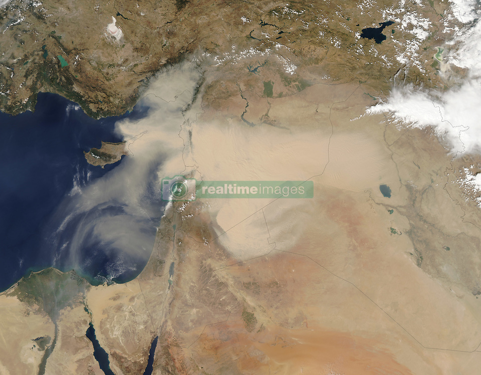 """Satellites often observe dust swirling over remote and unpopulated deserts but most of these events go largely unnoticed. Not so with the major dust storm that made international news in September 2015 for enveloping heavily-populated areas in the Middle East and North Africa.<br /> Dust first emerged in Moderate Resolution Imaging Spectroradiometer (MODIS) satellite imagery in Syria on September 6, 2015. By September 7 (top image), a thick plume swept across Syria, the Mafraq region of Jordan, and part of Turkey's Mediterranean coast. By September 8 (bottom image), dust had enveloped all of Lebanon, Israel, Jordan, Cyprus, and the Palestinian Territories. By September 9, it had moved southwest and spread over northeastern Egypt and the Gulf of Suez.<br /> The influx of dust triggered a rash of canceled flights, closed ports, and a suspension of daily activities for many people. In several countries, authorities are advising the elderly and young children to stay indoors. The number of people visiting hospitals with respiratory problems has increased significantly, and several deaths have been attributed to the dust, according to media reports.<br /> While satellites observe the dust from above, air quality sensors on the ground are recording remarkable amounts of particulate matter in surface air. In Jerusalem, pollution levels were 173 times higher than average, according to one news report. A sun photometer at the Sede Boker AERONET station in southern Israel showed a dramatic increase in aerosol optical depth (AOD) - a measure of how much sunlight is scattered by particles in the atmosphere.<br /> """"Satellite instruments, particularly MODIS, have revolutionized the scientific community's ability to understand the spatial extent, transport pathways, and the source areas of dust storms,"""" explained Thomas Gill, an atmospheric scientist at the University of Texas at El Paso. """"Largely because of MODIS, we now have a much better understanding of what specific kinds of """