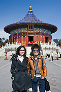 Tourists at the Imperial Vault of Heaven at the Ming Dynasty Temple of Heaven, Beijing, China