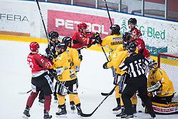 GLAVIC Gasper vs Max Oberrauch during Alps Hockey League match between HC Pustertal and HDD SIJ Jesenice, on April 3, 2019 in Ice Arena Podmezakla, Jesenice, Slovenia. Photo by Peter Podobnik / Sportida