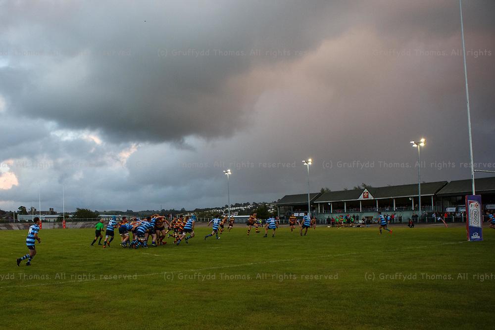 Carmarthen, Carmarthenshire, Wales, UK. 6 August, 2021.<br /> Carmarthen Quins v Aberystwyth RFC pre-season friendly.<br /> Credit: Gruffydd Ll. Thomas