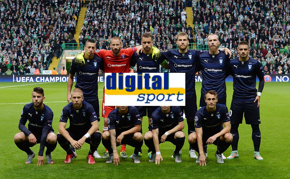 19/08/15 UEFA CHAMPIONS LEAGUE PLAY-OFF 1ST LEG<br /> CELTIC V MALMO<br /> CELTIC PARK - GLASGOW<br /> Malmo squad.<br /> Back Row (L/R) Nikola Djurdic, Johan Wiland, Kari Arnason, Pierre Bengtsson, Jo Inge Berget and Vladimir Rodic.<br /> Front Row (L/R): Erdal Rakip, Anton Tinnerholm, Yoshimar Yoyun, Oscar Lewicki and Magnus Eikrem.