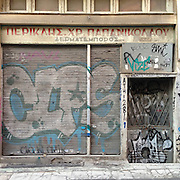 A closed down leather shop in Aristofanous Str, Psyrri, Athens, Greece