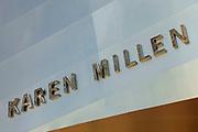 Sign for the high street clothing brand Karen Millen in Birmingham, United Kingdom.