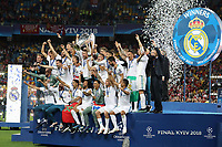 KIEV, UKRAINE - MAY 26: Sergio Ramos of Real Madrid lifts the trophy after winning the UEFA Champions League final between Real Madrid and Liverpool at NSC Olimpiyskiy Stadium on May 26, 2018 in Kiev, Ukraine. (MB Media)