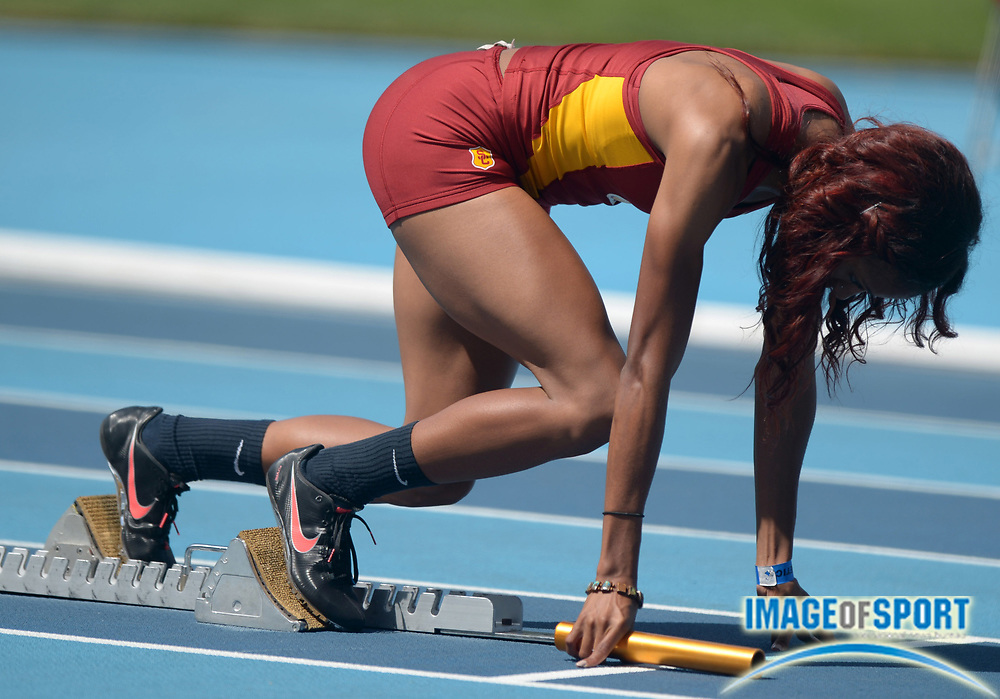 May 4, 2014; Los Angeles, CA, USA; Ashley Liverpool of Southern California in the starting blocks of the womens 4 x 400m relay in a dual meet against UCLA at Drake Stadium.