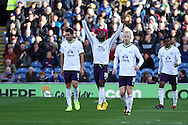 Everton's Romelu Lukaku (10) celebrates after scoring his teams 2nd goal. Barclays Premier league match, Burnley v Everton at Turf Moor in Burnley, Lancs on Sunday 26th October 2014.<br /> pic by Chris Stading, Andrew Orchard sports photography.