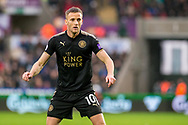 Andy King of Leicester City in action. Premier league match, Swansea city v Leicester city at the Liberty Stadium in Swansea, South Wales on Saturday 21st October 2017.<br /> pic by Aled Llywelyn, Andrew Orchard sports photography.