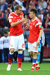 June 14, 2018 - Moscow, Russia - 14 June 2018, Russia, Moscow, FIFA World Cup, First Round, Group A, First Matchday, Russia vs Saudi Arabia at the Luzhniki Stadium. Players Artiom Dzyuba (22), Alexander Golovin  (Credit Image: © Russian Look via ZUMA Wire)