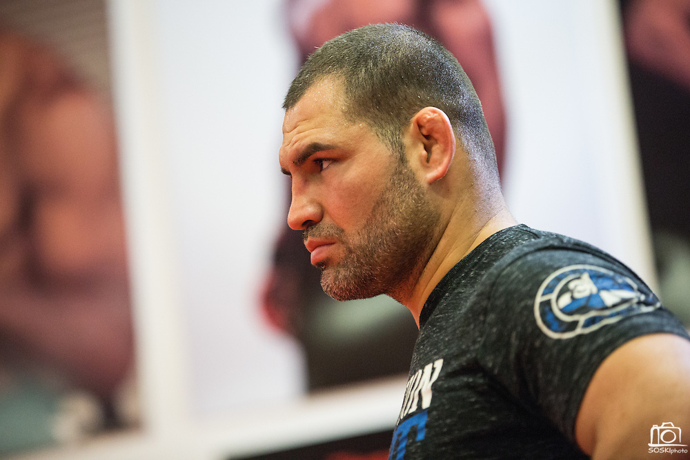 UFC fighter Cain Velasquez practices at American Kickboxing Academy in San Jose, California, on April 21, 2015. (Stan Olszewski/SOSKIphoto for Content Magazine)