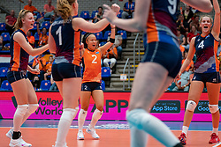 Jette Kuipers of Netherlands, Romy Brokking of Netherlands, Jolien Knollema of Netherlands in action during Netherlands - Argentina, FIVB U20 Women's World Championship on July 10, 2021 in Rotterdam