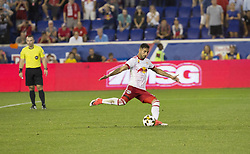 September 27, 2017 - Harrison, New Jersey, United States - Gonzalo Veron (30) of Red Bulls scores penalty kick goal during regular MLS game against DC United at Red Bull Arena Game ended in draw 3 - 3  (Credit Image: © Lev Radin/Pacific Press via ZUMA Wire)