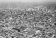 """Ackroyd 04366-1. """"Consolidated Freightways aerial. May 3, 1953"""" (NW Portland area around 20th to 21st and Quimby to Savier.)"""