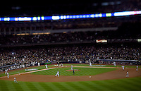 The New York Yankees run the bases in Game 6 of the 2009 World Series at Yankees Stadium against the Philadelphia Phillies. (Photo by Robert Caplin)