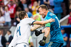 July 1, 2018 - Moscow, Russia - 180701 Goalkeeper Igor Akinfeev of Russia celebrates with Vladimir Granat after the penalty shoot-out during the FIFA World Cup round of 16 match between Spain and Russia on July 1, 2018 in Moscow..Photo: Petter Arvidson / BILDBYRN / kod PA / 92080 (Credit Image: © Petter Arvidson/Bildbyran via ZUMA Press)
