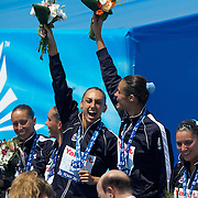 The Spanish Synchronised swimming team after winning the Silver Medal  at the World Swimming Championships in Rome on Saturday, July 25, 2009. Photo Tim Clayton.