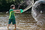 Waterfight at the pond.