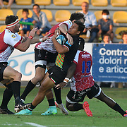 Parma, 24/09/2021 Stadio Lanfranchi<br /> URC United Rugby Championship 2021<br /> Zebre Rugby vs Emirates Lions  <br /> Pierre Bruno placcato da Wandisile Simelane