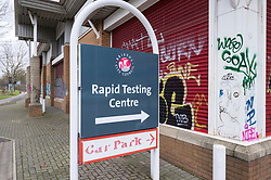 © Licensed to London News Pictures; 07/02/2021; Bristol, UK. Covid test centres have been opened in Bristol as surge testing is rolled out across the city during the Covid-19 coronavirus pandemic in England, following cases of mutations of variants of the virus. 11 cases of mutations of concern have been found in Bristol and 32 in Liverpool, as the Government has also rolled out door to door and mobile testing in areas of the UK where the South African variant of the Covid virus has been found. Officials are more worried about the mutated variant in Bristol because it poses a double threat. It is the Kent strain which is more transmissible but also carries the E484K mutation which may mean it is more vaccine resistant. Photo credit: Simon Chapman/LNP.
