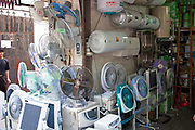 Electric fans for sale at a shop in Shanghai, China.