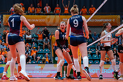 Kim Klein Lankhorst of Netherlands, Elles Dambrink of Netherlands celebrate during Netherlands - Argentina, FIVB U20 Women's World Championship on July 10, 2021 in Rotterdam