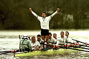 Peter Spurrier Sports Photo<br /> email info@intersport-images.com<br /> <br /> <br /> Boat Race 2001<br /> <br /> Cambridge president, Kieran West, celebrates victory in the boat race. [Mandatory Credit; Peter SPURRIER/Intersport Images]<br /> <br /> 20010324 University Boat Race, Putney to Mortlake, London, Great Britain.