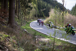 Olga Zabelinskaya (RUS) of Bepink Cogeas Cycling Team leads the peloton up on the Cote de la Vecquee during the Liege-Bastogne-Liege Femmes - a 135.5 km road race, between  Bastogne and Ans on April 23, 2017, in Liege, Belgium.