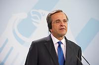 DEU, Deutschland, Germany, Berlin, 24.08.2012:<br />Der griechische Ministerpräsident Antonis Samaras während einer Pressekonferenz im Bundeskanzleramt.