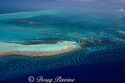 aerial view of Turneffe Atoll ( Turneffe Island ), showing barrier reef with spur and groove formations, Belize, Central America  ( Caribbean Sea )