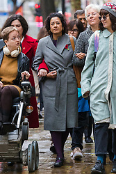 © Licensed to London News Pictures. 01/11/2019. London, UK. Television presenter, Samira Ahmed (C) with her supporters arrives at the Central London Employment Tribunal to attend an equal pay case hearing against the BBC. Samira Ahmed, who presents Newswatch on BBC One and Radio 4's Front Row claims she was paid less than male colleagues for doing equivalent work under the Equal Pay Act. Photo credit: Vickie Flores/LNP