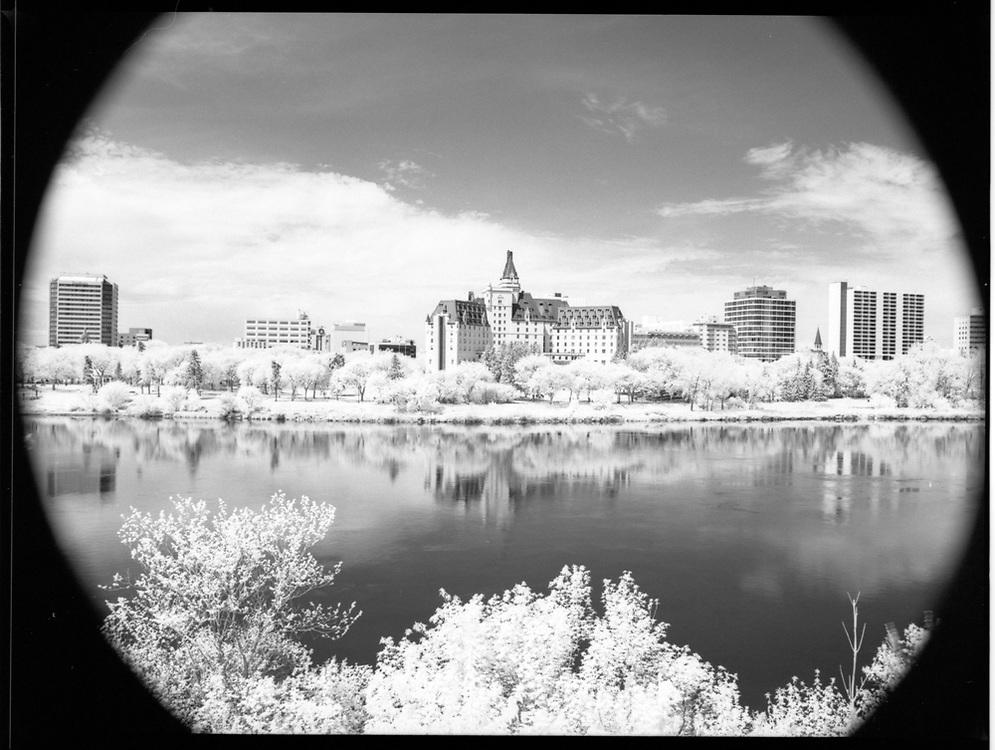 Meewasin Trail, opposite Bessborough Hotel downtown, Saskatoon, Saskatchewan. Rollei Infrared 400 120mm, 2017-05-20, Hoya R72 filter, 1/4 @ f/16.