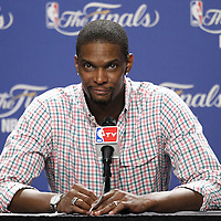 17 June 2012: Miami Heat power forward Chris Bosh answers journalists during the press conference following the Miami Heat 91-85 victory over the Oklahoma City Thunder, in Game 3 of the 2012 NBA Finals, at the AmericanAirlinesArena, Miami, Florida, USA.