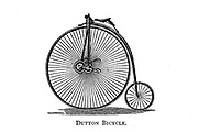 Dutton Bicycle a high wheel bicycle with a gearing mechanism on the front wheel From Wheels and Wheeling; An indispensable handbook for cyclists, with over two hundred illustrations by Porter, Luther Henry. Published in Boston in 1892