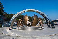 Yu ra, visiting the Korean DMZ with her family, jumps from the This One Earth monument at the Thrid Tunnel of Aggression (or the Third Infiltration Tunnel). (September 29, 2019)