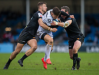 Gloucester's Louis Rees-Zammit in action during todays match<br /> <br /> Photographer Bob Bradford/CameraSport<br /> <br /> Gallagher Premiership Round 4 - Exeter Chiefs v Gloucester Rugby - Saturday 26th December 2020 - Sandy Park - Exeter<br /> <br /> World Copyright © 2020 CameraSport. All rights reserved. 43 Linden Ave. Countesthorpe. Leicester. England. LE8 5PG - Tel: +44 (0) 116 277 4147 - admin@camerasport.com - www.camerasport.com