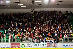 Fans during Hockey match between SZ HD Olimpija and HDD Jesenice in 4tht match of Quarterfinals of Alps Hockey League, on March 13, 2018 in Hala Tivoli, Ljubljana, Slovenia. Photo by Ziga Zupan / Sportida