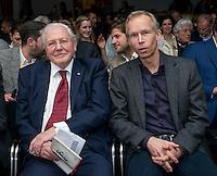 Sir David Attenborough with Johan Rockstrom at the Inaugural WWF Living Planet Lecture at The Royal Society, London. 3/11/2016