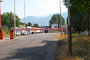 The border crossing check point from Montenegro to Albania. Montenegro, Balkan, Europe.