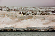 A glacier in northern Svalbard. All of Svalbard's glaciers are retreating, even in the north of the archipelago despite only being around 600 miles from the North Pole.