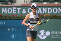 March 7, 2019 - Indian Wells, CA, U.S. - INDIAN WELLS, CA - MARCH 07: Saisai Zheng (CHN) reacts to a point during the BNP Paribas Open on March 7, 2019 at Indian Wells Tennis Garden in Indian Wells, CA. (Photo by George Walker/Icon Sportswire) (Credit Image: © George Walker/Icon SMI via ZUMA Press)