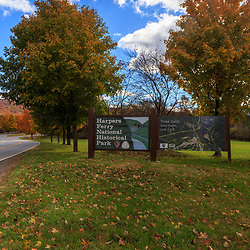 Harpers Valley, WV / USA - November 3, 2018: Entrance sign at the Harpers Ferry National Historical Park in West Virginia.
