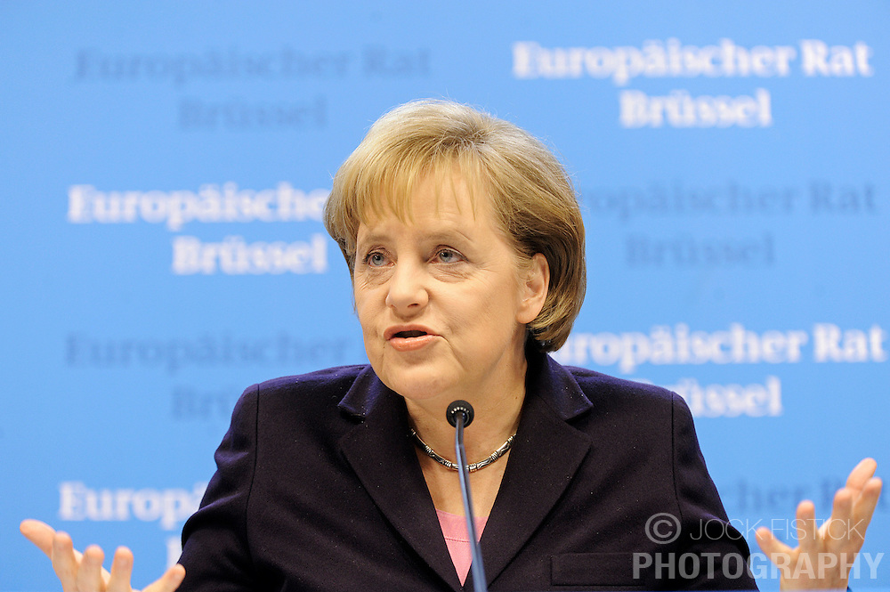Angela Merkel, Germany's chancellor, speaks during a news conference following the European Union summit at EU headquarters in Brussels, Belgium, on Sunday, March. 1, 2009. .(Photo © Jock Fistick)